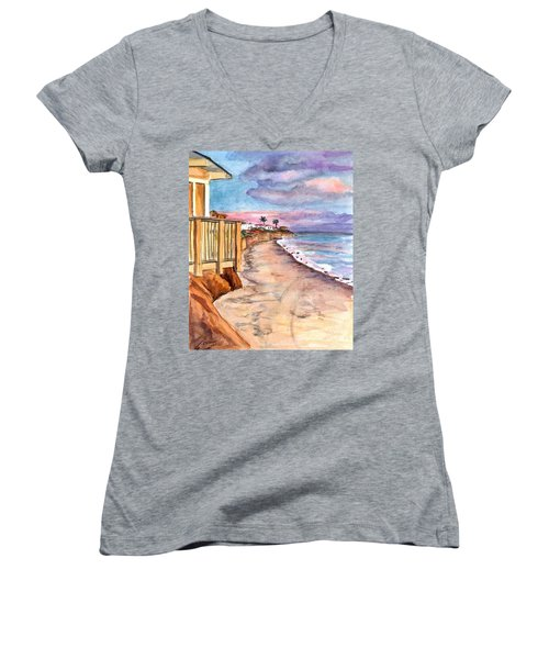 Women's V-Neck T-Shirt (Junior Cut) featuring the painting California Coast by Clara Sue Beym