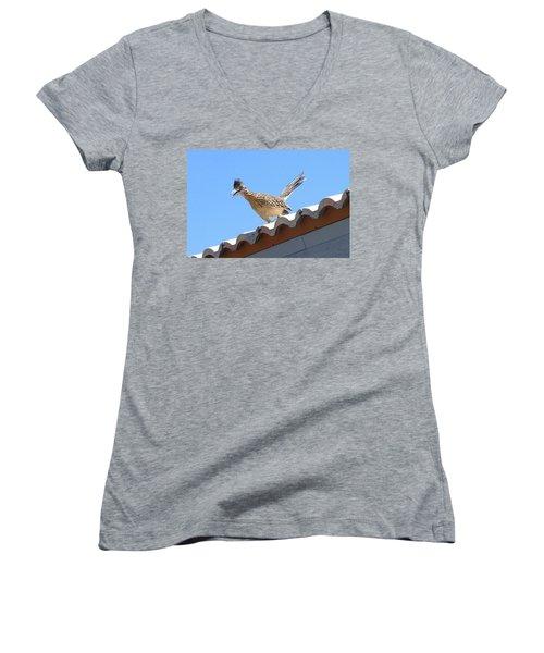 Women's V-Neck T-Shirt (Junior Cut) featuring the photograph California Roadrunner by Carla Parris