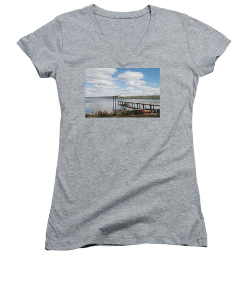 Women's V-Neck T-Shirt (Junior Cut) featuring the photograph Calm Waters by William Norton