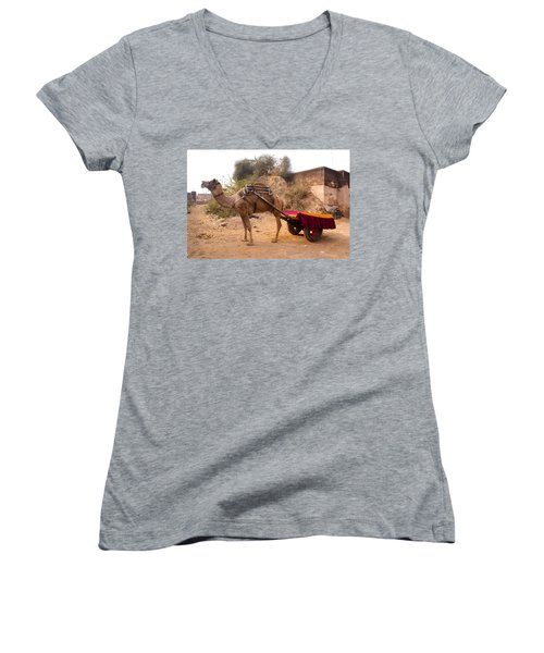 Camel Yoked To A Decorated Cart Meant For Carrying Passengers In India Women's V-Neck T-Shirt (Junior Cut) by Ashish Agarwal