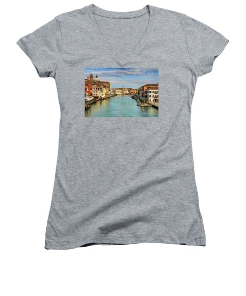 Canals Of Venice  Women's V-Neck