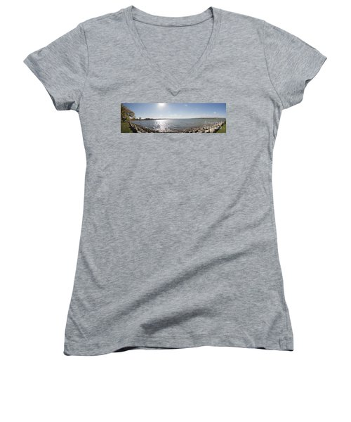 Women's V-Neck T-Shirt (Junior Cut) featuring the photograph Canandaigua Lake Panorama by William Norton