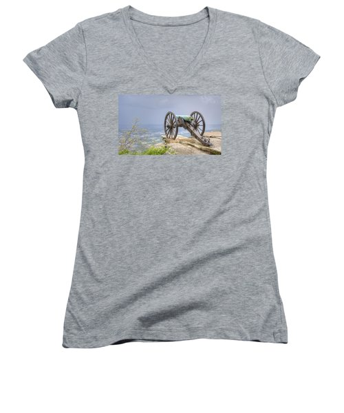 Cannon 2 Women's V-Neck T-Shirt (Junior Cut) by David Troxel