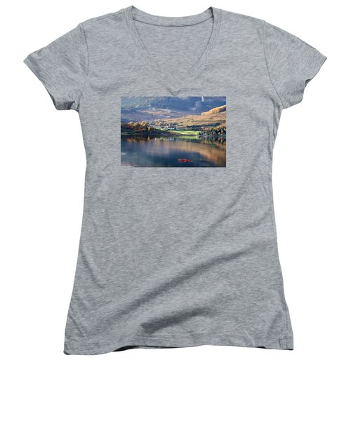 Women's V-Neck T-Shirt (Junior Cut) featuring the photograph Canoeing On Loch Goil by Lynn Bolt