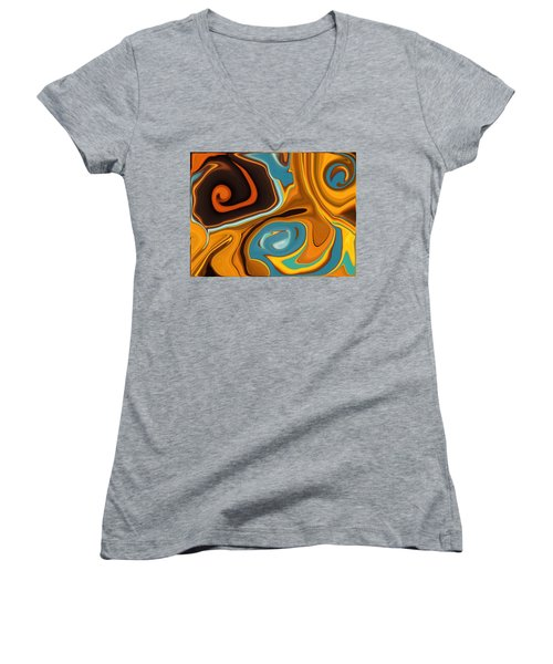 Caramel Dreams Women's V-Neck T-Shirt (Junior Cut) by Renate Nadi Wesley