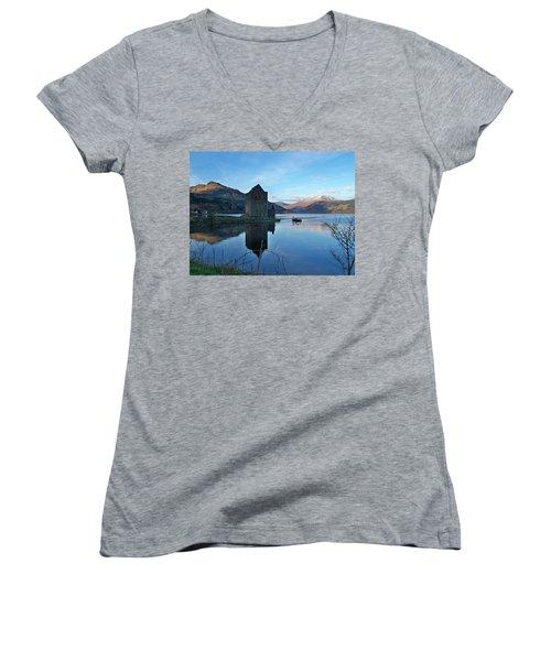 Women's V-Neck T-Shirt (Junior Cut) featuring the photograph Carrick Castle by Lynn Bolt