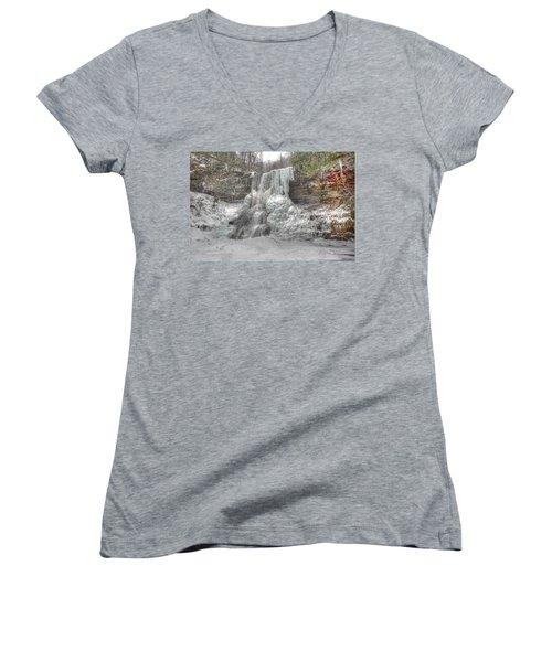 Cascades In Winter 1 Women's V-Neck T-Shirt (Junior Cut) by Dan Stone