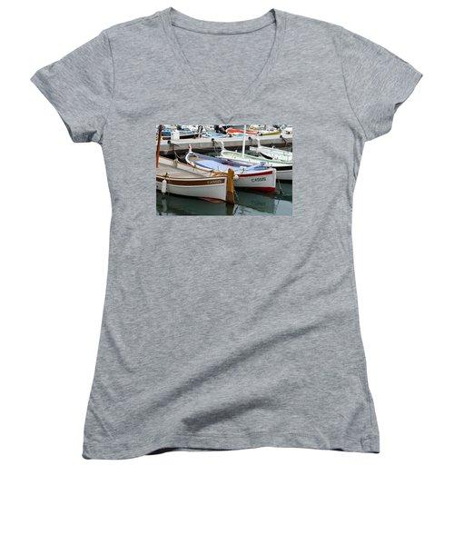 Women's V-Neck T-Shirt (Junior Cut) featuring the photograph Cassis Harbor by Carla Parris