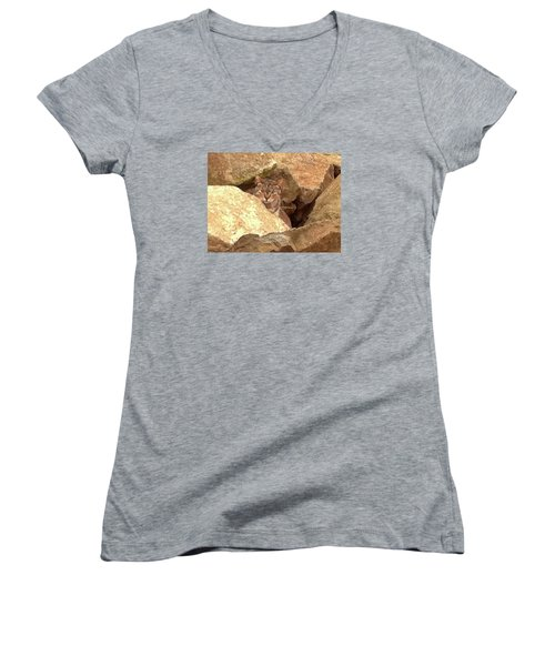 Cat On The Rocks Women's V-Neck (Athletic Fit)