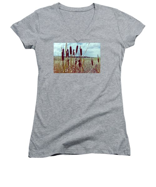 Women's V-Neck T-Shirt (Junior Cut) featuring the photograph Cat Tails by Bonfire Photography