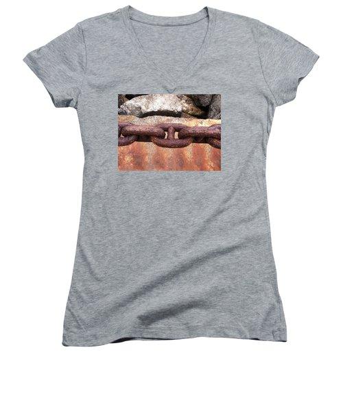 Women's V-Neck T-Shirt (Junior Cut) featuring the photograph Chain Under The Golden Gate Bridge by Bill Owen
