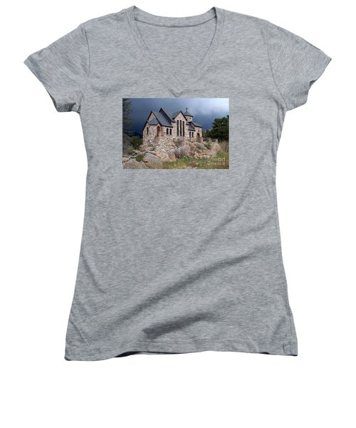 Chapel On The Rocks No. 1 Women's V-Neck (Athletic Fit)