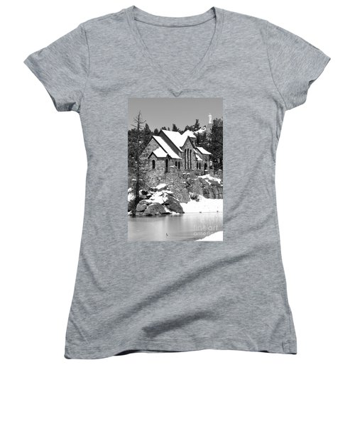 Chapel On The Rocks No. 2 Women's V-Neck T-Shirt