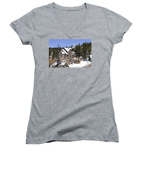 Chapel On The Rocks No. 3 Women's V-Neck (Athletic Fit)