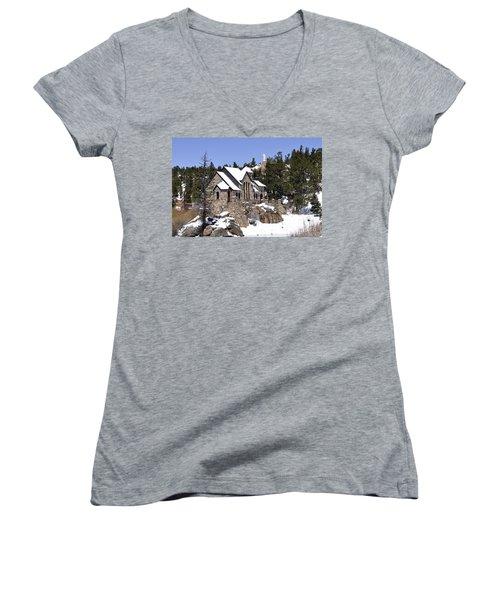 Chapel On The Rocks No. 3 Women's V-Neck T-Shirt