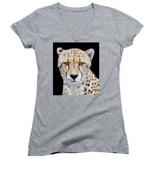 Women's V-Neck T-Shirt (Junior Cut) featuring the photograph Cheetah by Lynn Bolt