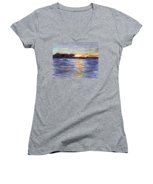 Women's V-Neck T-Shirt (Junior Cut) featuring the painting Chesapeake Dusk Boat Ride by Clara Sue Beym