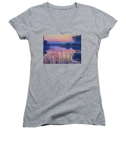 Women's V-Neck T-Shirt (Junior Cut) featuring the painting Chincoteaque Island Sunset by Julie Brugh Riffey