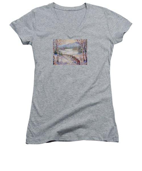 Women's V-Neck T-Shirt (Junior Cut) featuring the painting Christmas by Lou Ann Bagnall