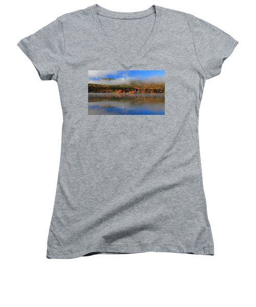 Church Across The Lake-panoramic Women's V-Neck (Athletic Fit)