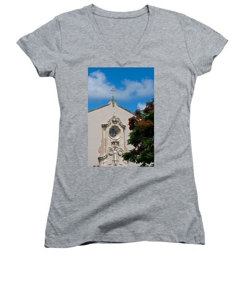 Women's V-Neck T-Shirt (Junior Cut) featuring the photograph Church Of The Little Flower by Ed Gleichman