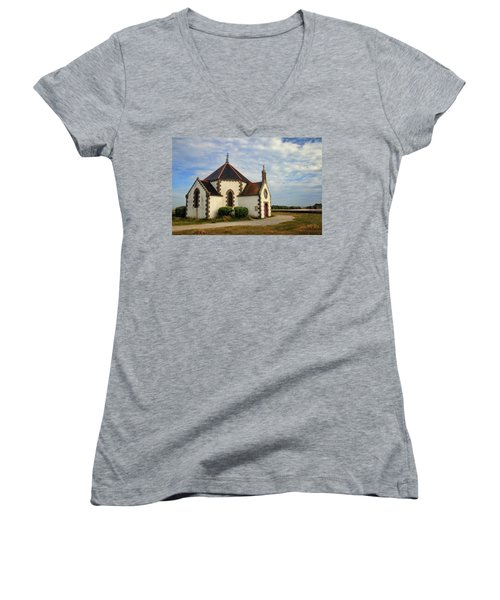 Women's V-Neck T-Shirt (Junior Cut) featuring the photograph Church Off The Brittany Coast by Dave Mills