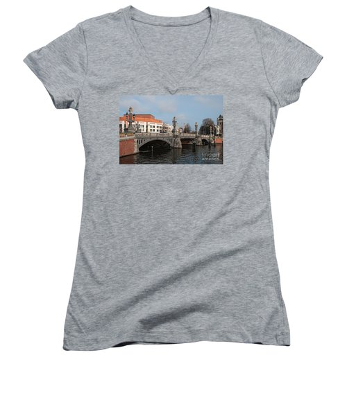 Women's V-Neck T-Shirt (Junior Cut) featuring the digital art City Scenes From Amsterdam by Carol Ailles