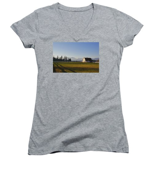 Classic Barn In The Country Women's V-Neck T-Shirt (Junior Cut) by Mick Anderson
