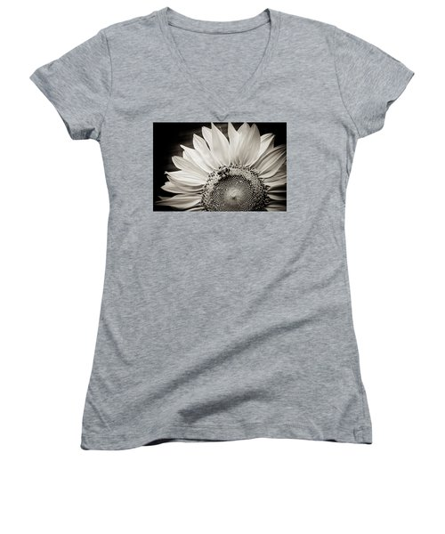 Women's V-Neck T-Shirt (Junior Cut) featuring the photograph Classic Sunflower by Sara Frank