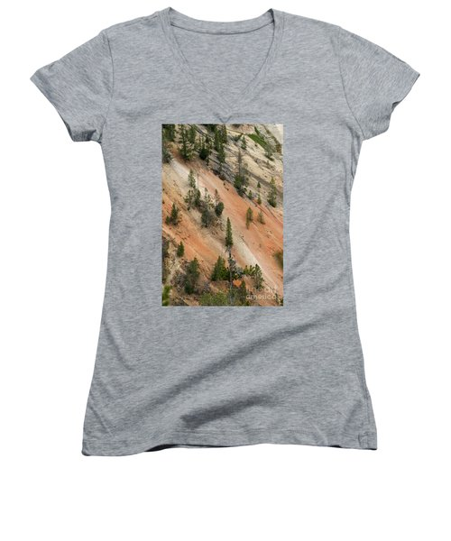 Cliff Side Grand Canyon Colors Vertical Women's V-Neck T-Shirt (Junior Cut) by Living Color Photography Lorraine Lynch