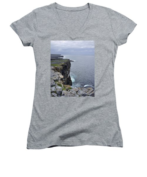 Women's V-Neck T-Shirt (Junior Cut) featuring the photograph Cliffs Of Inishmore by Hugh Smith