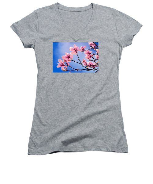 Cherry Blossums Women's V-Neck (Athletic Fit)