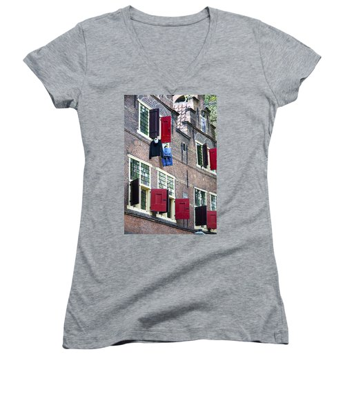 Clothes Hanging From A Window In Kattengat Women's V-Neck