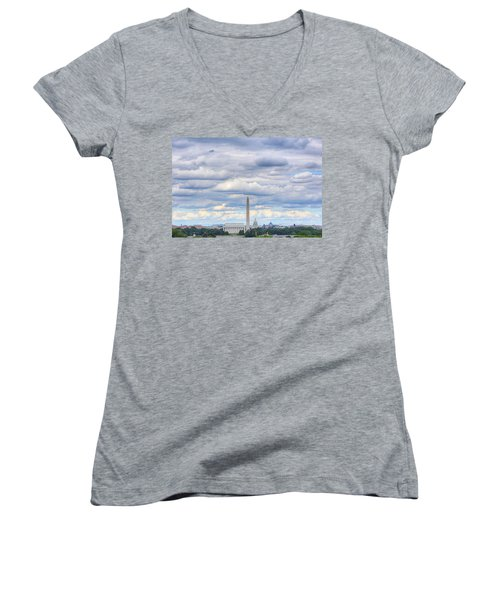 Clouds Over Washington Dc Women's V-Neck