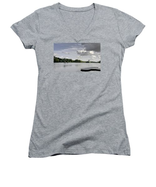 Women's V-Neck T-Shirt (Junior Cut) featuring the photograph Cloudy Hyde Park by Maj Seda