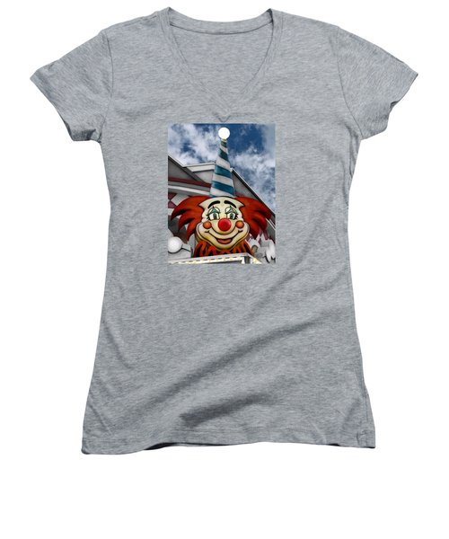 Clown Around Women's V-Neck T-Shirt (Junior Cut) by Colleen Kammerer