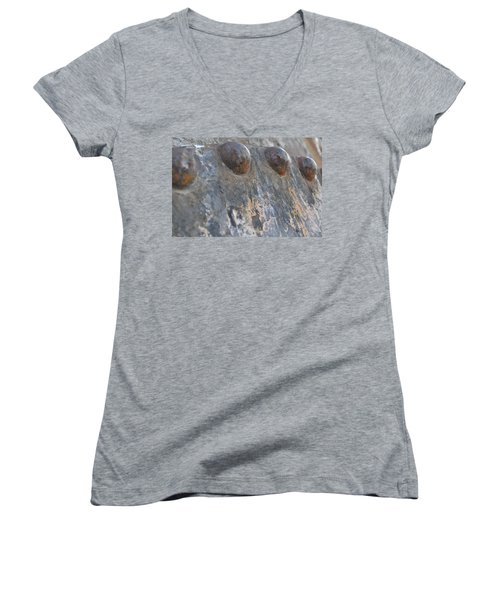 Women's V-Neck T-Shirt (Junior Cut) featuring the photograph Color Of Steel 7 by Fran Riley