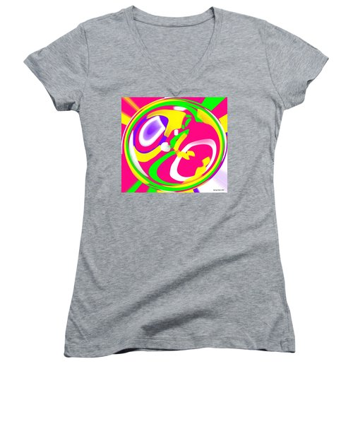 Women's V-Neck T-Shirt (Junior Cut) featuring the digital art Color Roundup by George Pedro