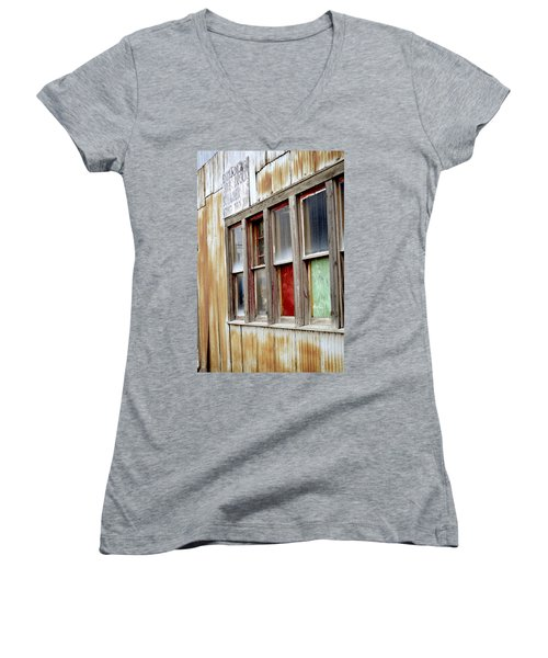 Women's V-Neck T-Shirt (Junior Cut) featuring the photograph Colorful Windows by Fran Riley