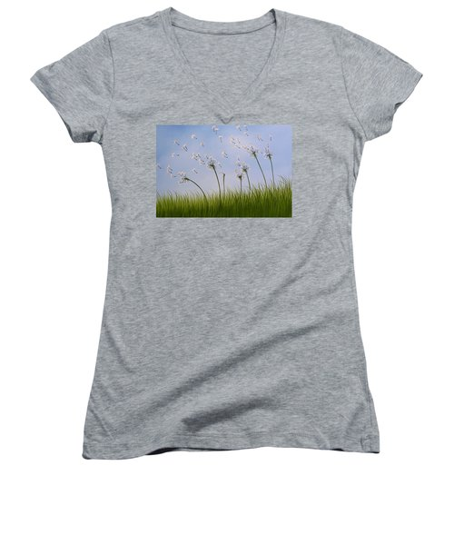 Women's V-Neck T-Shirt (Junior Cut) featuring the painting Contemporary Landscape Art Make A Wish By Amy Giacomelli by Amy Giacomelli