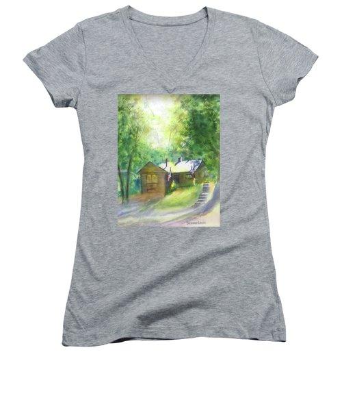 Cool Colorado Cabin Women's V-Neck T-Shirt (Junior Cut) by Debbie Lewis