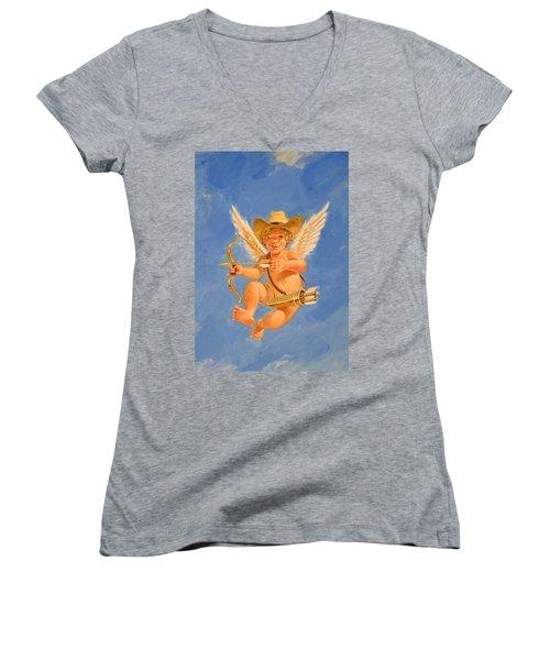 Cow Kid Cupid Women's V-Neck T-Shirt (Junior Cut) by Cliff Spohn
