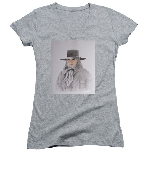 Cowgirl In Hat Women's V-Neck