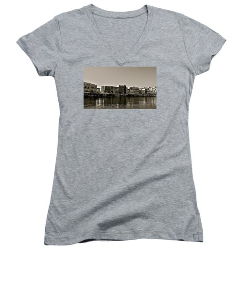Women's V-Neck T-Shirt (Junior Cut) featuring the photograph Crete Reflected by Eric Tressler
