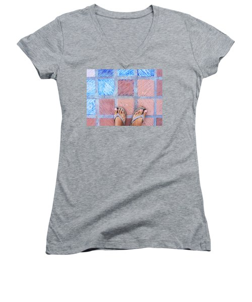Women's V-Neck T-Shirt (Junior Cut) featuring the photograph Cross-legged On A Colorful Sidewalk by Anne Mott