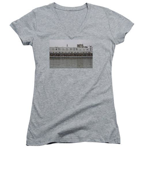 Crowd Of Devotees Inside The Golden Temple Women's V-Neck T-Shirt (Junior Cut) by Ashish Agarwal