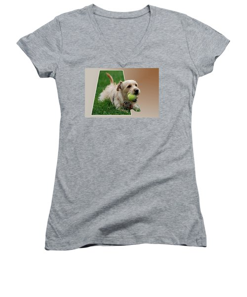 Women's V-Neck T-Shirt (Junior Cut) featuring the photograph Cruz My Ball by Thomas Woolworth