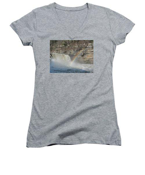 Women's V-Neck T-Shirt (Junior Cut) featuring the photograph Cumberland Falls by Tiffany Erdman