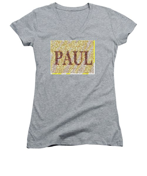 Custom Paul Mosaic Taylor Swift Women's V-Neck T-Shirt (Junior Cut) by Paul Van Scott