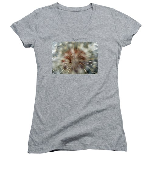 Women's V-Neck T-Shirt (Junior Cut) featuring the photograph Dandelion Fluff by Kay Lovingood